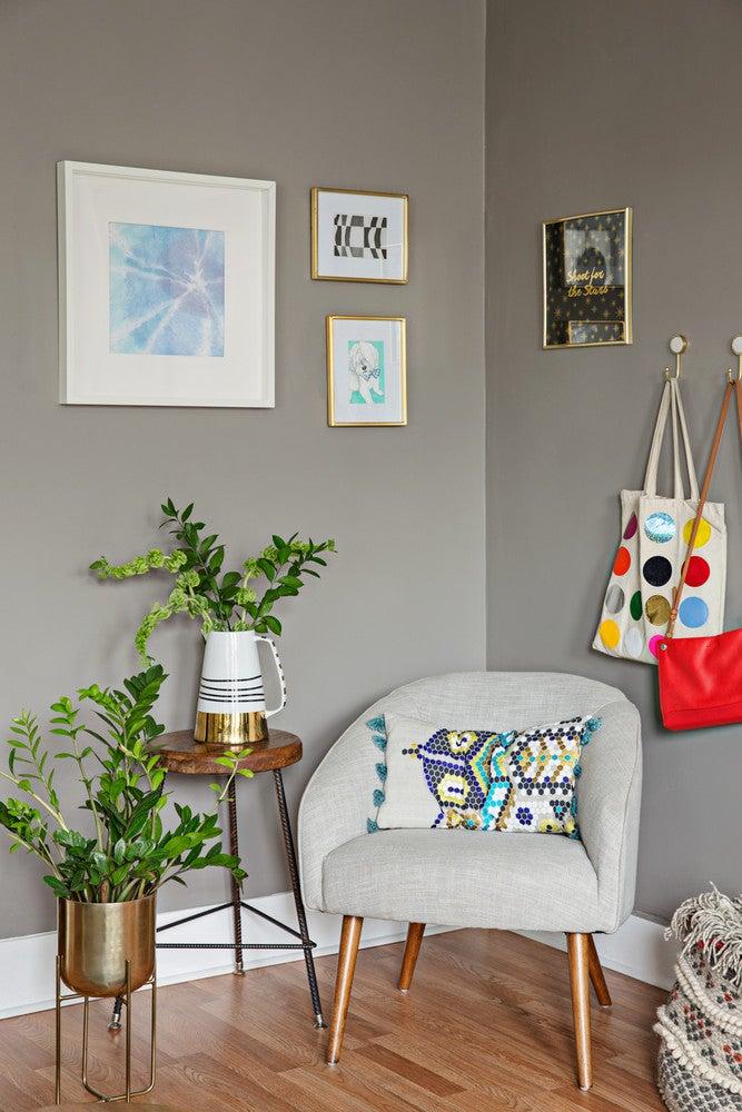 corner sitting nook with plants