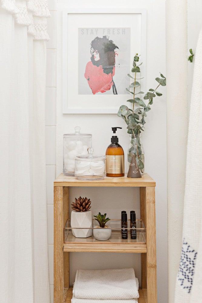 tiny bathroom shelving unit