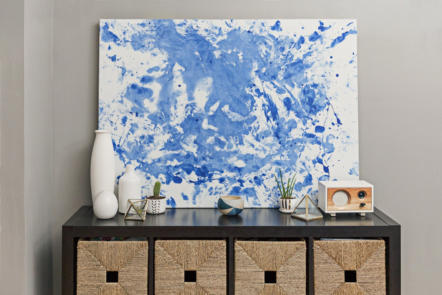 blue and white splatter painted  canvas