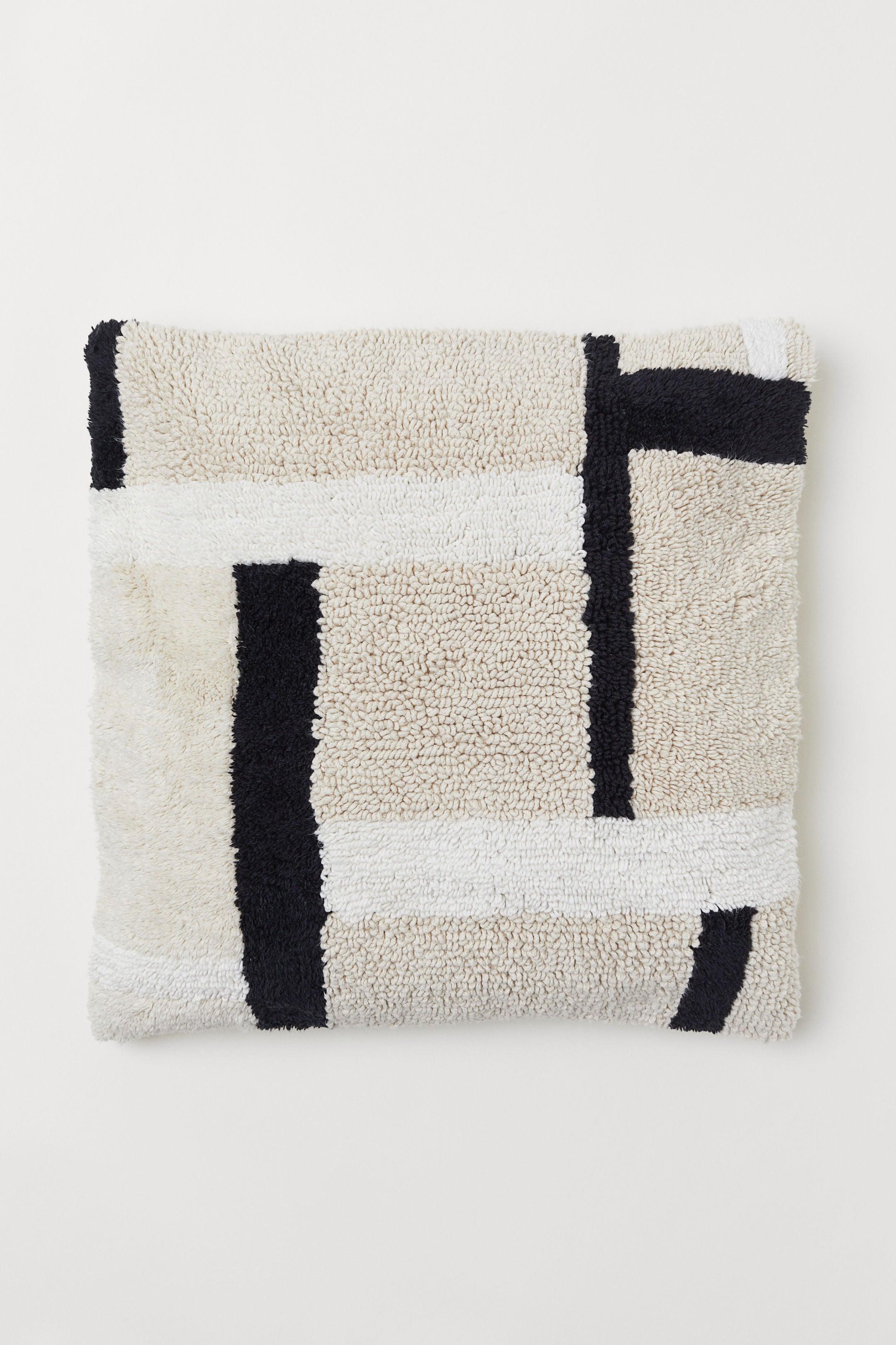 black and white geometric cushion cover