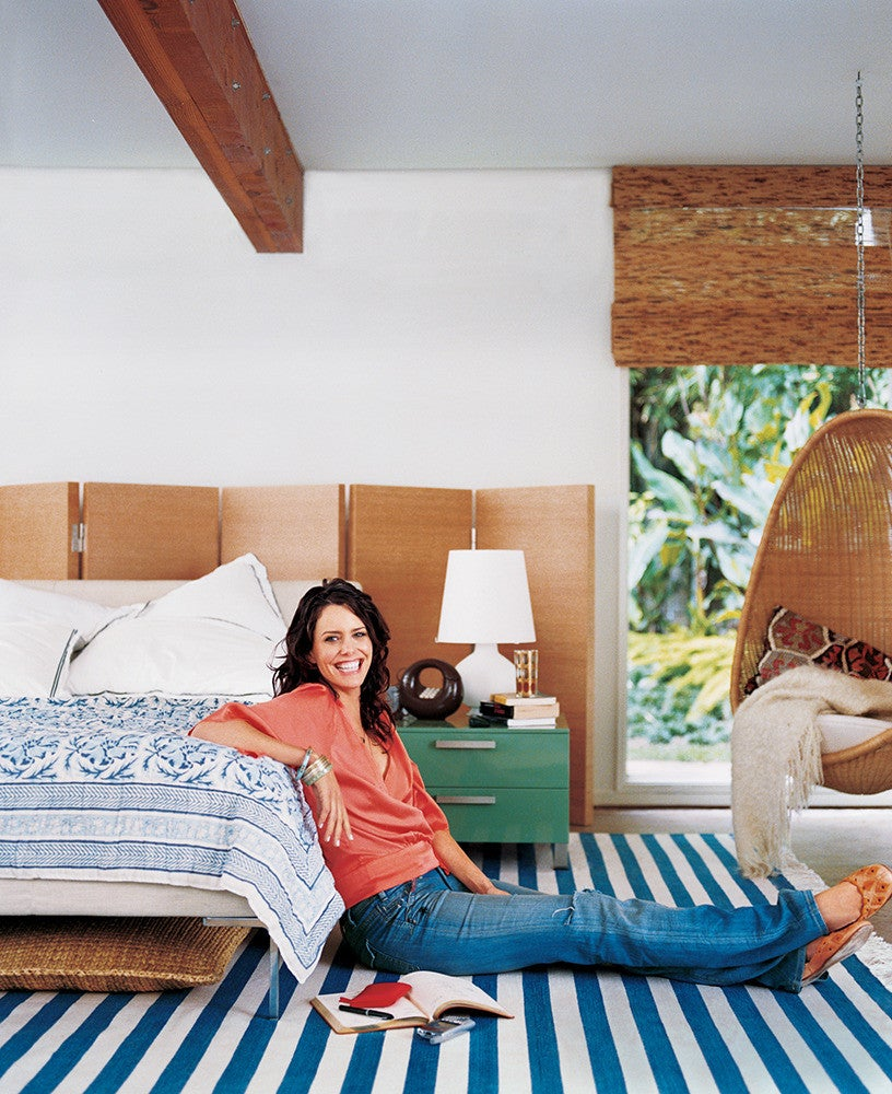 Blue and Wood Bedroom