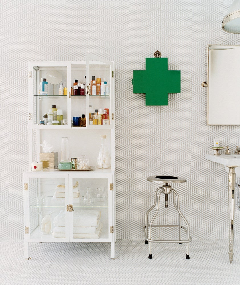 Green and White Bathroom