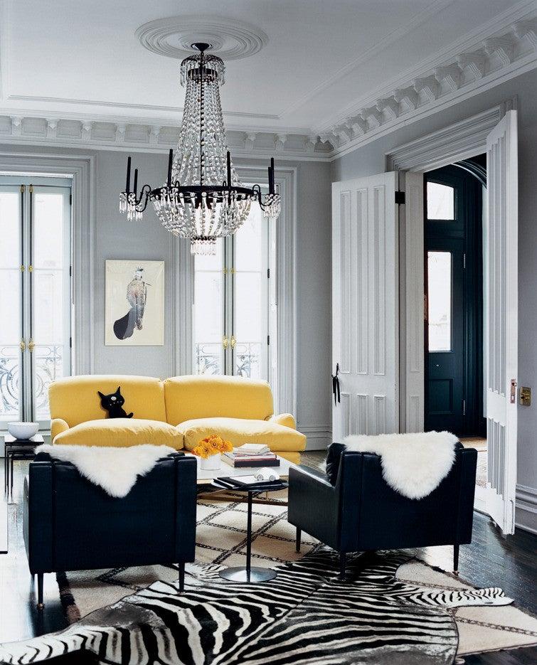 jenna lyons Black and Gray and Yellow Living room