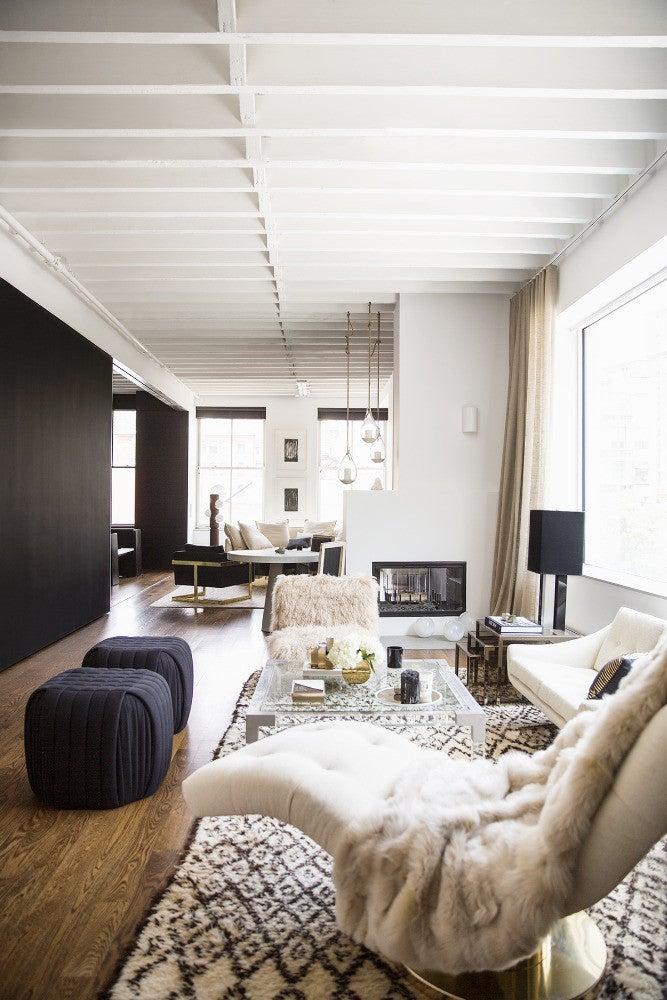 Nate Berkus and Jeremiah Brent design Rita Hazan Apartment Taupe Living room