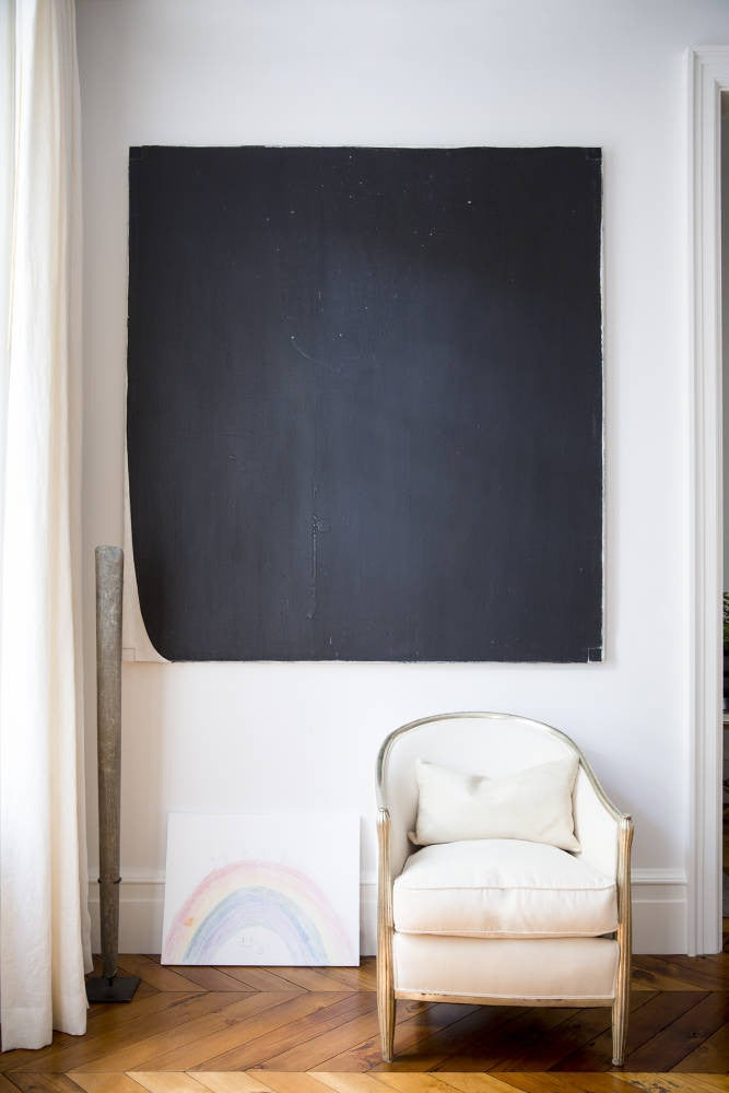 West Village Townhouse Alison Cayne White and Black Living room
