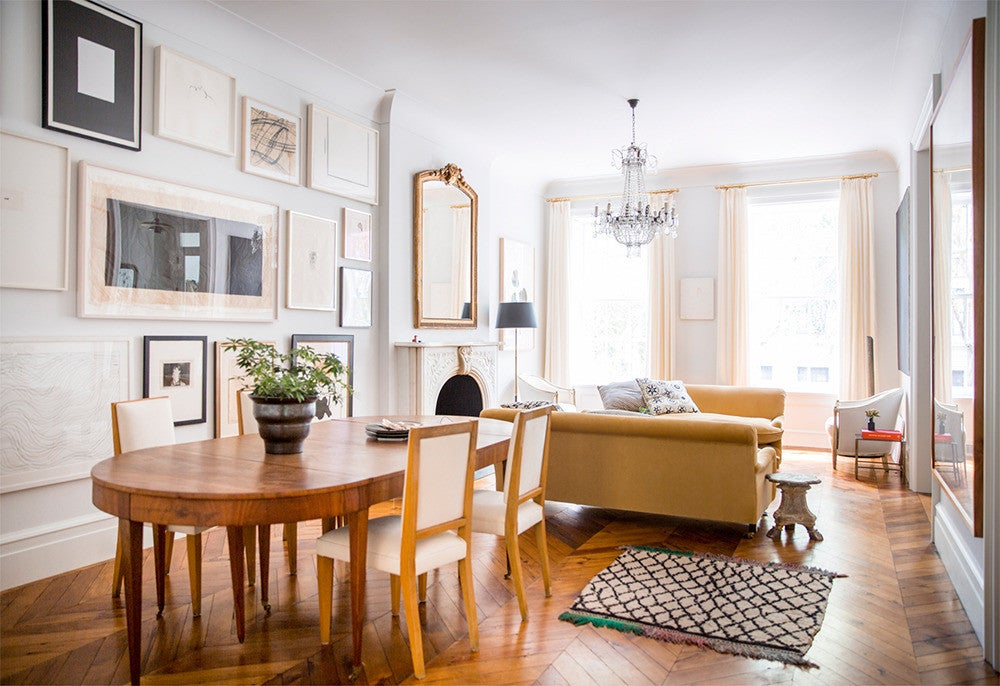 West Village Townhouse Alison Cayne White and Yellow Dining room