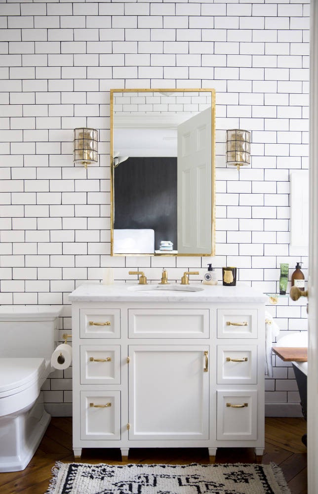 West Village Townhouse Alison Cayne Gold and White Bathroom
