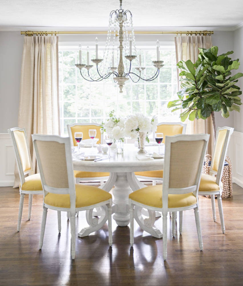White and Wood and Yellow Dining room
