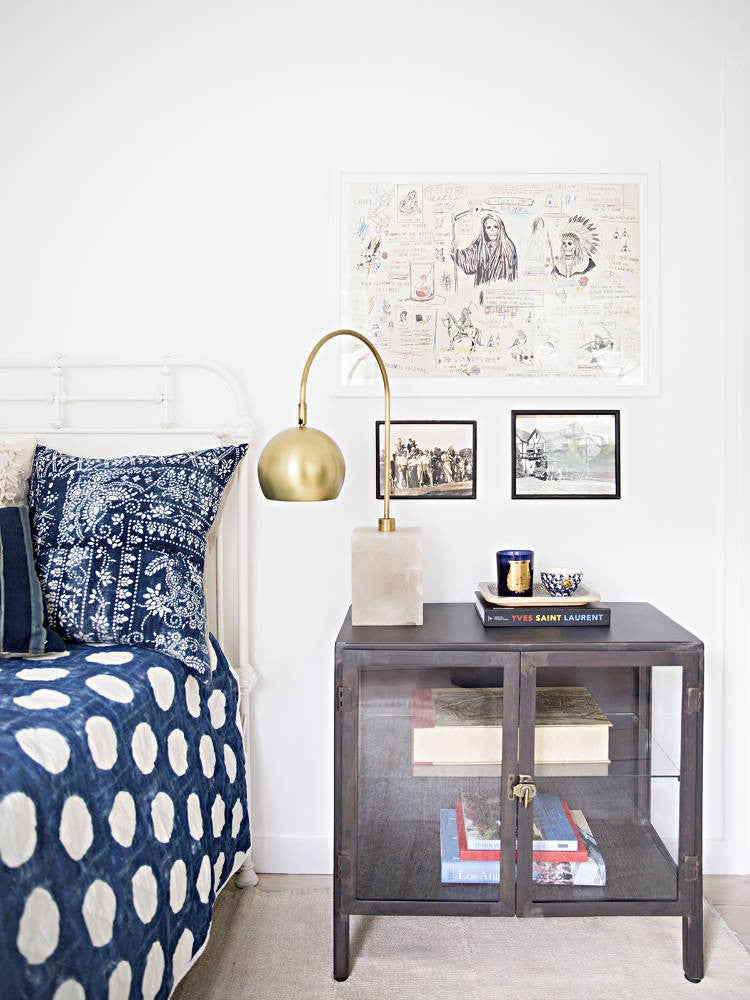 Anne Ziegler White and Blue Bedroom Nightstand