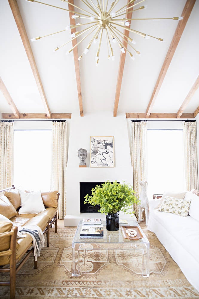 Lauren Liess Taupe and White and Wood Living room