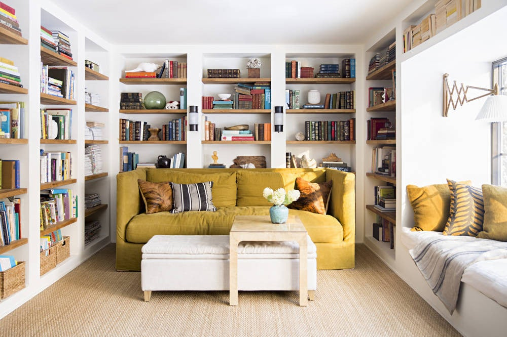 White and Wood and Yellow Home library