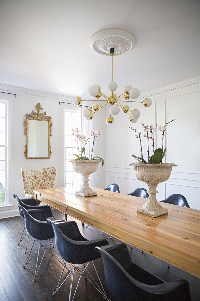 Brown and White and Wood Dining room