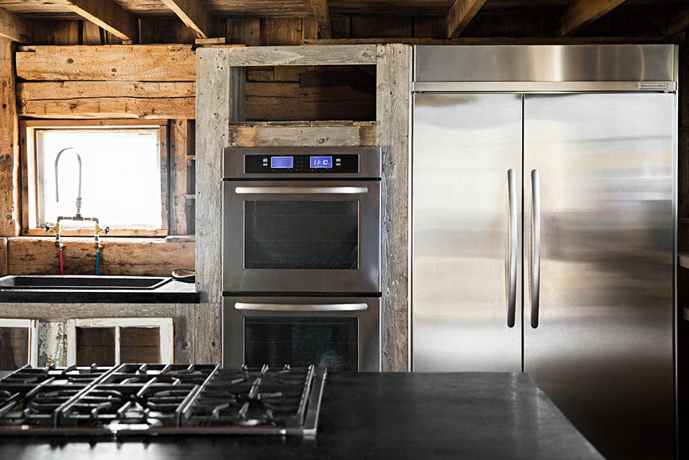 Black and Gray and Silver and Wood Kitchen