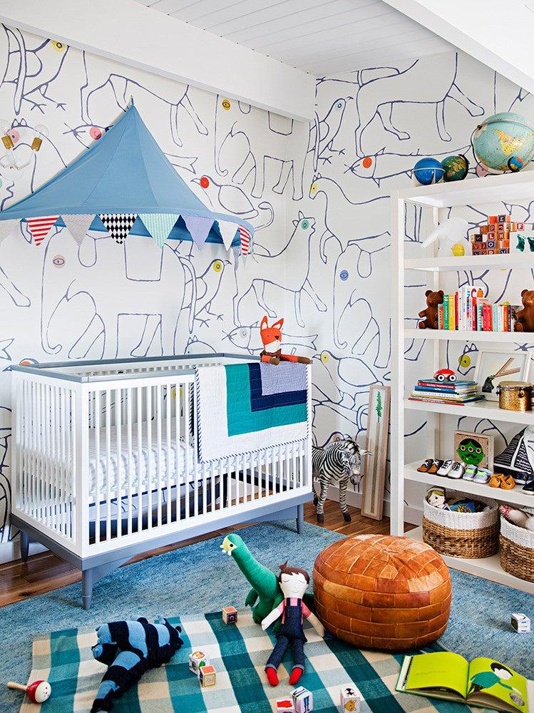 Emily Henderson Home Tour Blue and White Nursery