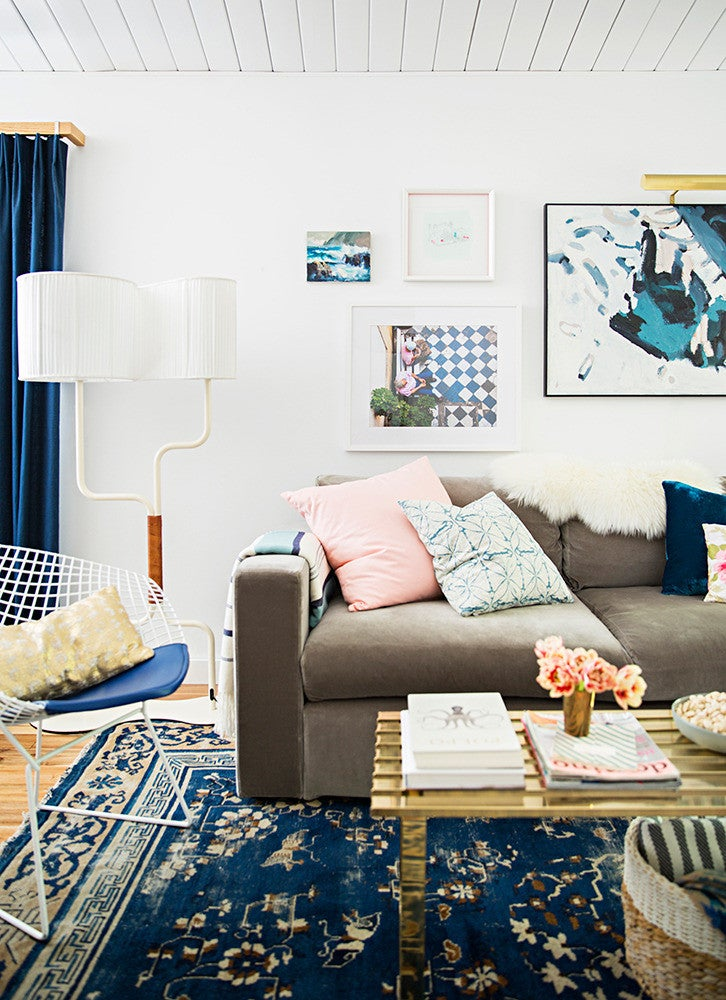 Emily Henderson Home Tour Blue and White Gallery Wall