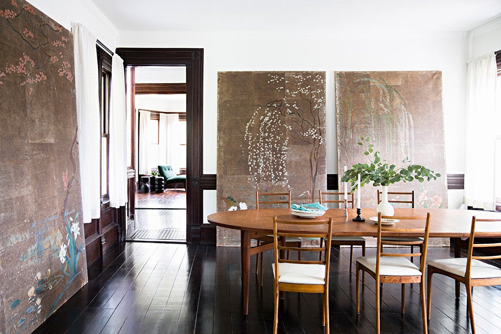 Brown and Taupe and White and Wood Dining room