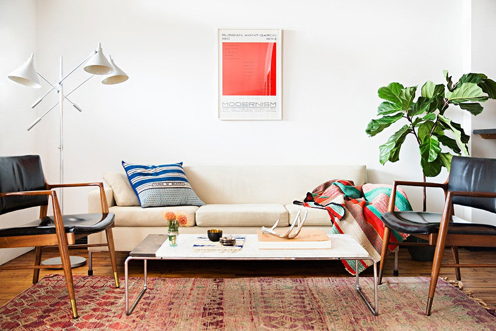 Red and White and Wood Living room