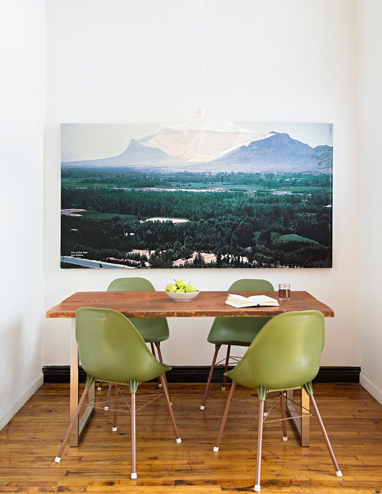 Blue and Green and Wood Dining room