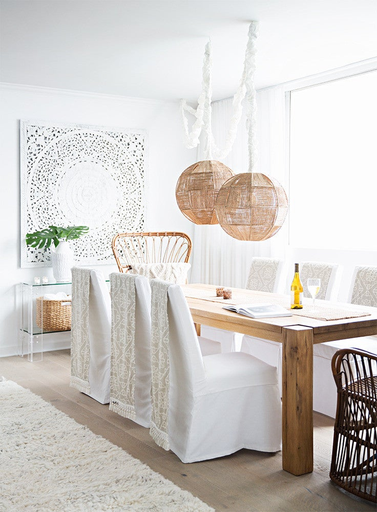 Clear and Taupe and White Dining room