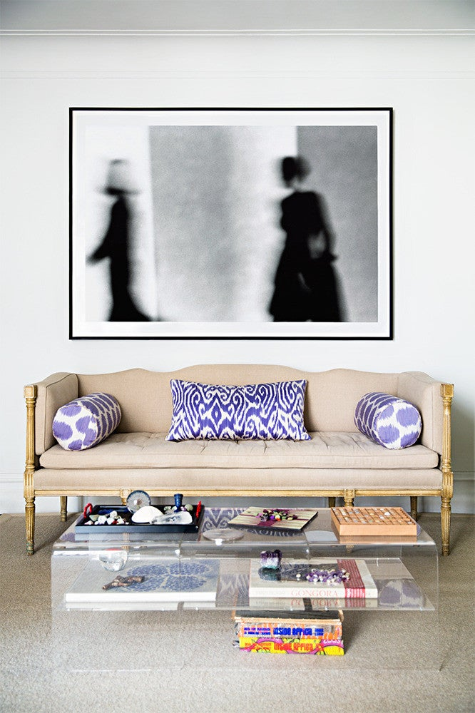 Clear and Purple and Taupe and White Living room