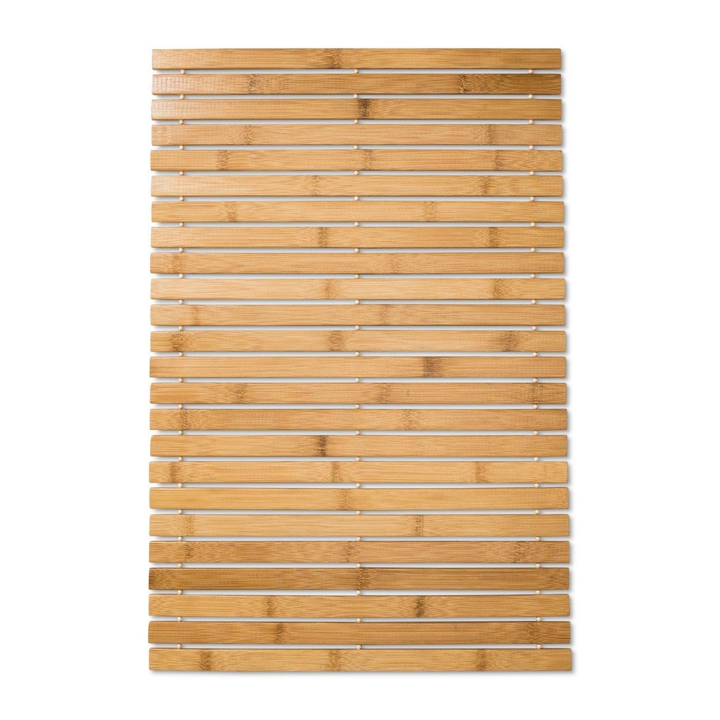 wooden bamboo bath mat