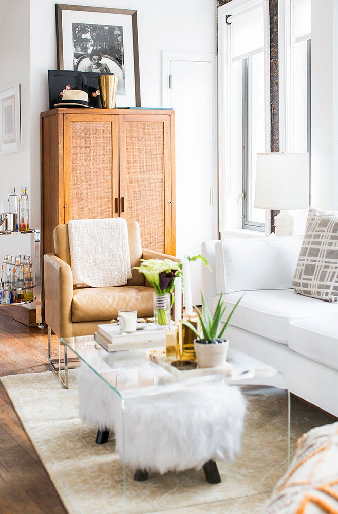 Brown and Clear and White Living room