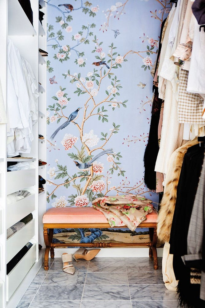 Blue and Pink and Wood Closet