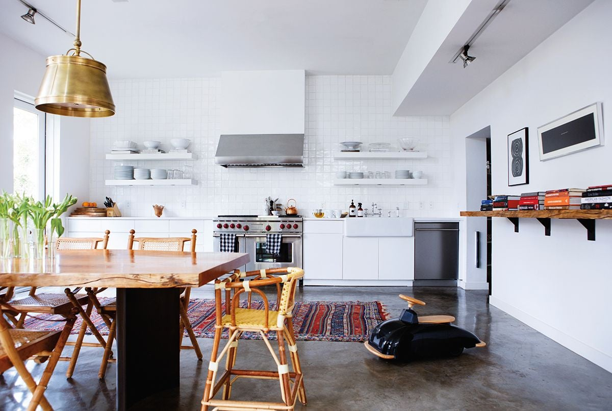 Black and Bronze and Red and White and Wood Kitchen