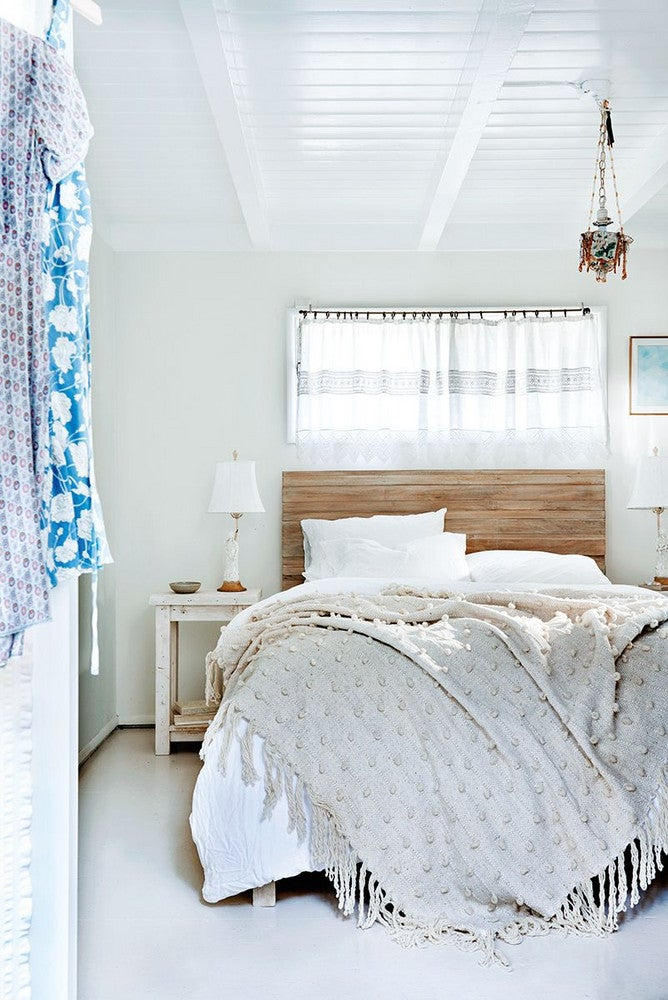Blue and Taupe and White and Wood Bedroom