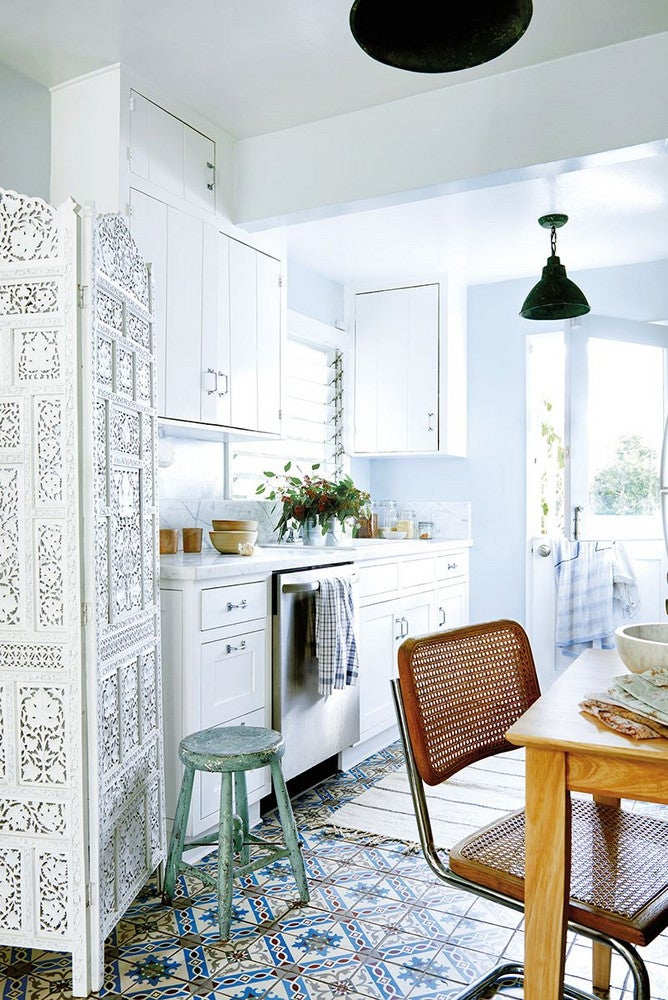 Blue and Green and White and Wood Kitchen