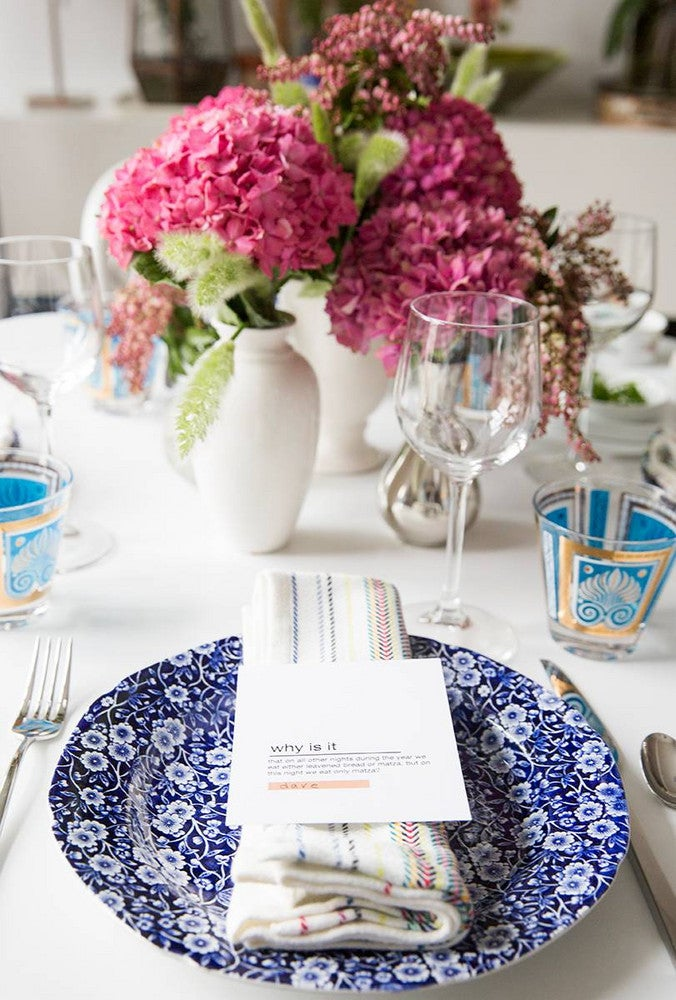 Blue and Pink and White Table Setting