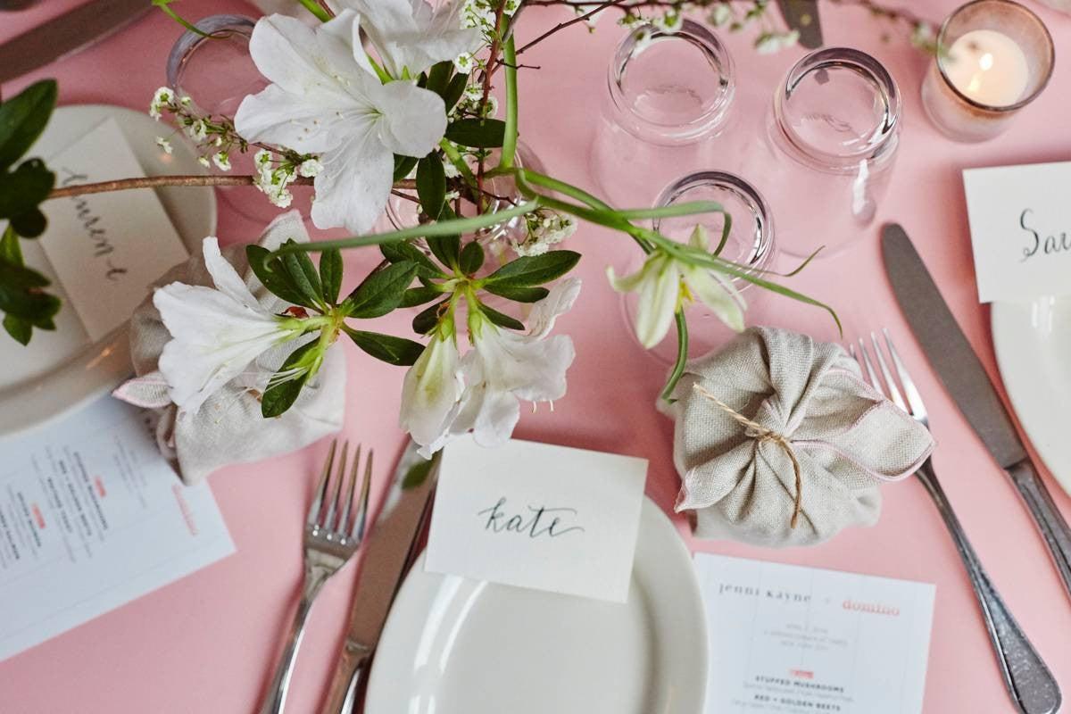 Jenni Kayne Domino Dinner Pink and White Table Setting