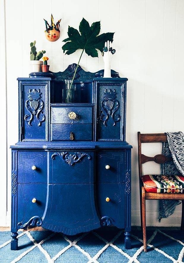 How To Paint Your Furniture Blue Entryway