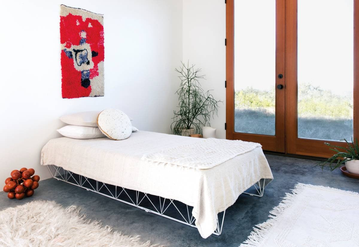 Red and Taupe and White Bedroom