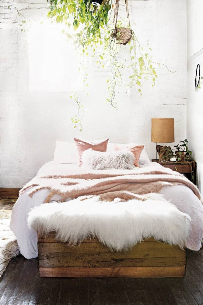 Aurora James Brother Vellies Brown and White Bedroom