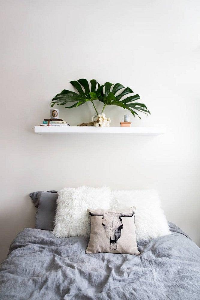 Alyssa Coscarelli's Williamsburg Apartment Gray and White Bedroom