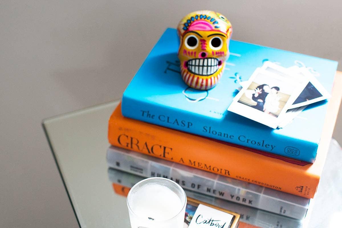Alyssa Coscarelli's Williamsburg Apartment Blue and Orange Books