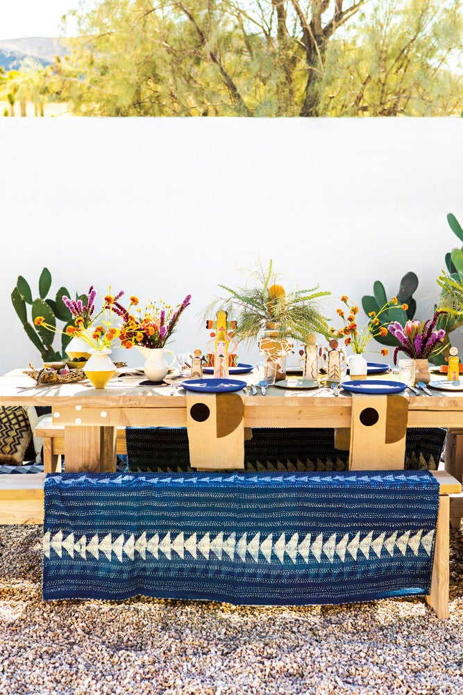 Blue and White and Wood Table Setting