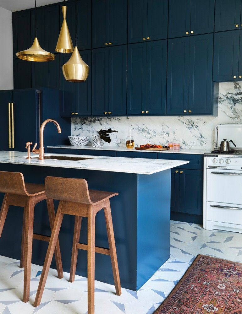 Blue and Brown and Gold Kitchen
