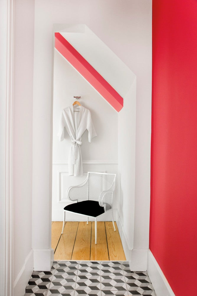 Red and White Hallway