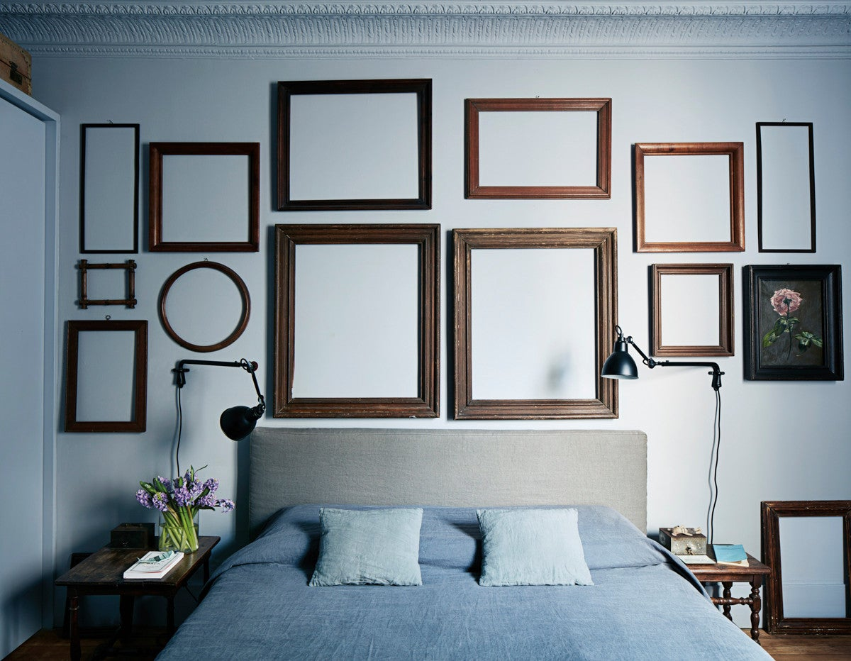 Blue and Brown and Wood Bedroom