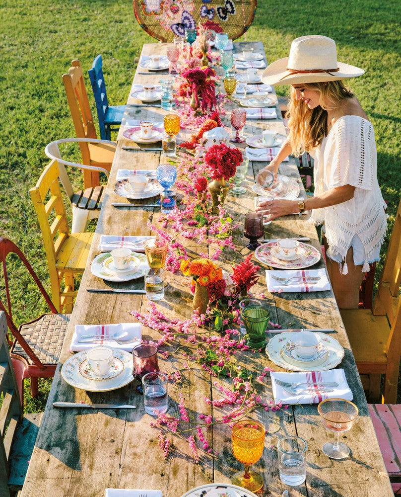 Blue and Green and Pink and Red and Wood Table Setting