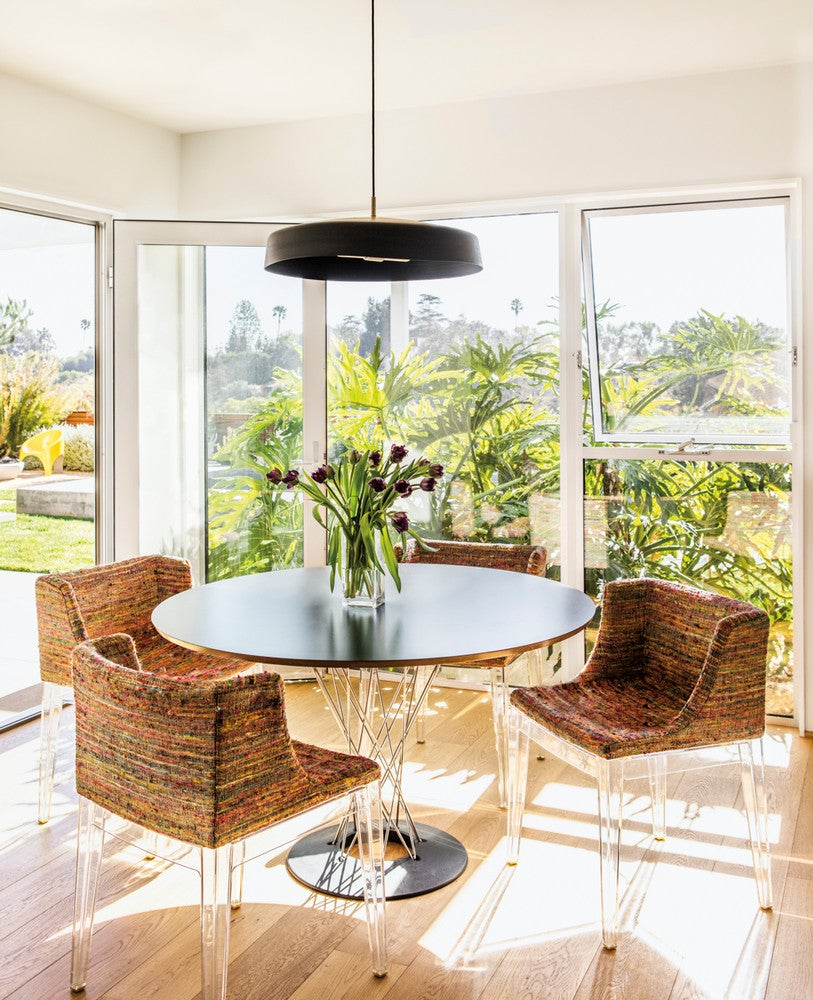Black and Brown and Clear and White Dining room