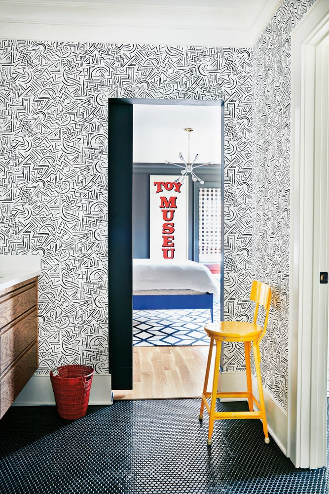 Black and White and Yellow Entryway