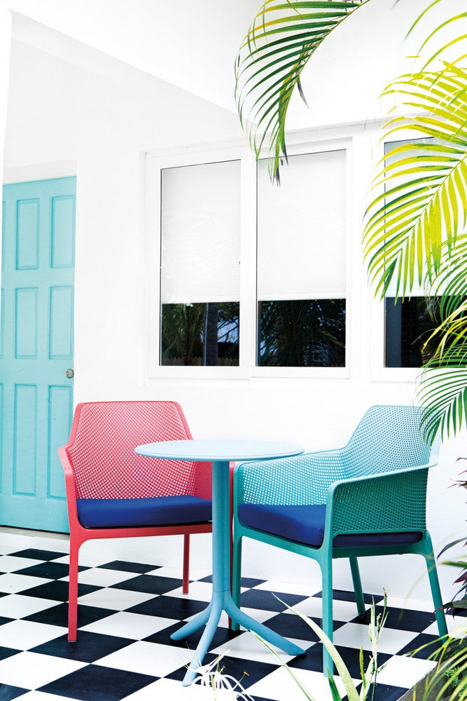 Blue and Pink and White Patio