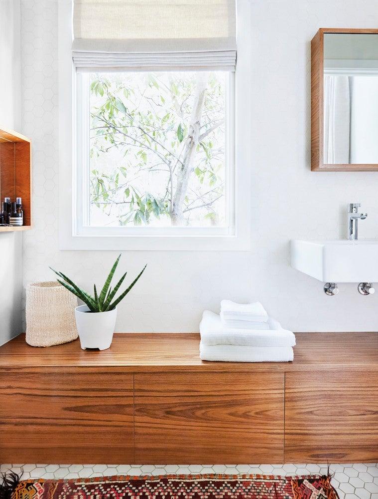 White And Wood Bathroom ...