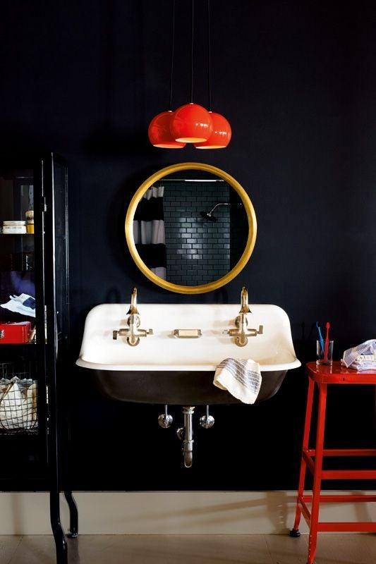 black wall in bathroom