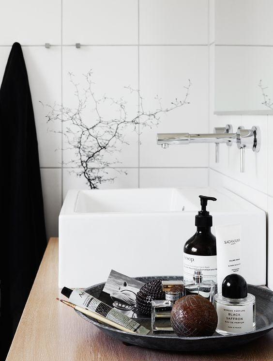 vanity tray in bathroom