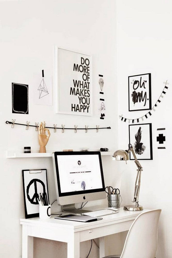 Home Office Organization Tips White Gallery Wall
