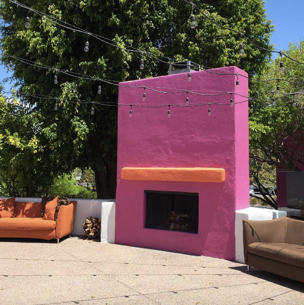 Patio String Light Ideas Outdoor Pink Fireplace